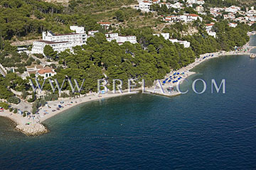 Aerial view of beach in Brela